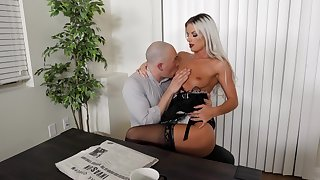 Sexy blonde maid likes fucking take the master when his wife is not home