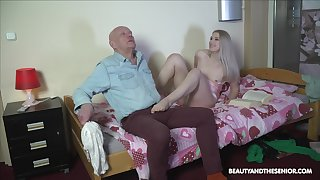 Nasty stepdaughter makes an old man feel uncomfortable at the shagging him