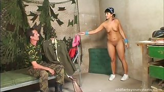 Fucking on be transferred to floor with an army guy added to his girlfriend Krystina