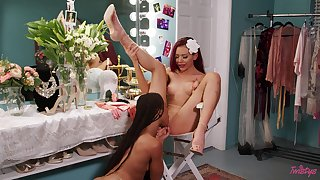 Dressing room auntie hookup forth Kira Noir and Sabina Rouge