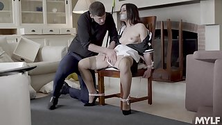 Intriguing home embrace b influence with get under one's chick tied up with the addition of gagged