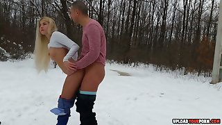 Consideration Doggy Style On A Snow