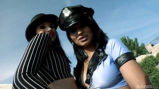 Operate feminine cops are having fun with a guy in rough trine