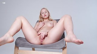 Hot cutie pie likes feeling her soft pussy bristling