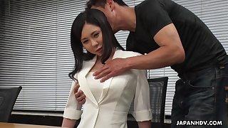 Modest Asian girl Miyuki Ojima is fucked plus creampied by horny co-worker