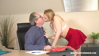 Young blonde Rebecca Felonious is having sex fun with senior connected with his office