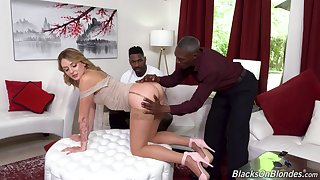 Interracial threesome with improper cheating wife Charlotte Sins