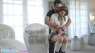 Stepdad and stepdaughter Megan Marx enjoy softcore BDSM sexual congress