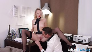 Blonde with bright in flames lips Hanna Rey gets laid after a steamy blowjob occasion