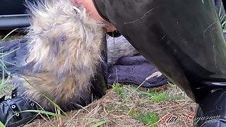 Nightmare slut orgasm, Celeste receives dog unnoticed outdoors