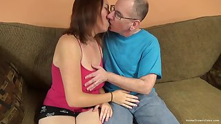 Heavy titty amateur cutie lets an old man pound the brush cunt