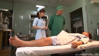 Japanese nurse Minami Kojima takes care of the brush patient's stiff dick