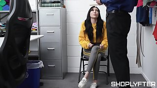 Nice teen Judy Jolie is fucked and jizzed by team a few security guy