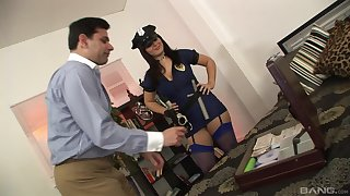 Fake female cop wants a piece be fitting of this man's hard wood