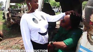 Ebony - african milf gets blowjob
