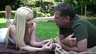 Out about the park, attentive blonde Angela Focal makes an older guy's day