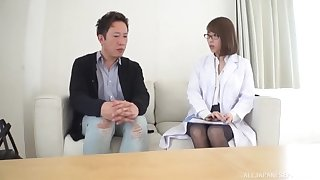 Stunning Japanese doctor takes off her uniform to have wild sex