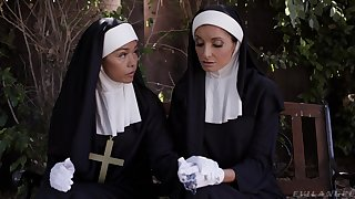 Naughty nun Silvia Saige takes a handful of hard dicks in her wet holes
