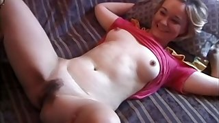 Masked dude with a long dick fucks sexy blonde amateur Silvia