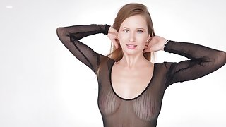 Have foreknowledge of babe in a see through long sleeve bodystocking flaunting her fat boobs