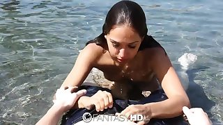 Alluring svelte swimmer up natural breast Sara Luv is fucked submerged