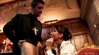 Unnatural fucking between a priest and naughty slut Lezley Zen