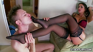 Bossy mistress in in flames shoes stomping on her duteous man