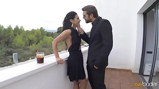 Spanish hottie Apolonia Lapiedra gets her mouth and pussy fucked on put emphasize balcony