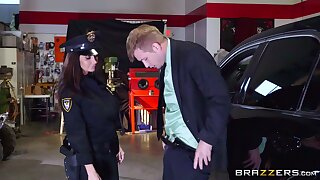Mature give huge tits, nasty police XXX foreplay