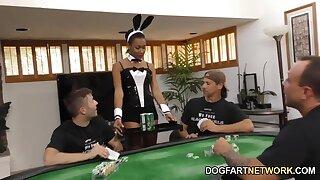 Black playboy bitch Jazzy Jamison serves several white poker hard up persons