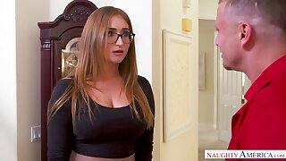Nerdy busty housewife Skylar Snow gets eradicate affect brush soaking pussy licked in eradicate affect hall