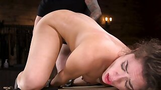 Master in dusky gloves masturbates girl's pussy from behind