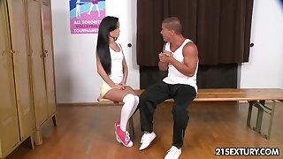 Cutie alongside unplanned white dress is available to give a sensual blowjob to their way stud