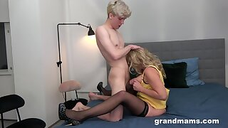 On the level tits MILF spreads her legs for a younger lover to fuck her