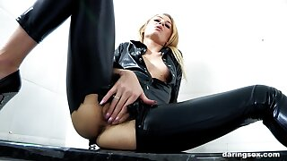 Looking hot in black leather, Carmel Anderson gets dicked sympathetic