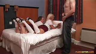 Older person enjoys getting blowjobs from Carly Treanor and Sasha Blue