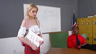 Flaming blonde schoolgirl surprises her black teacher with though wild she is