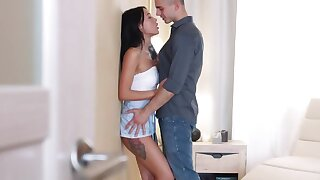 Young design fucks rub-down the Russian brunette and cums on spectacular ass