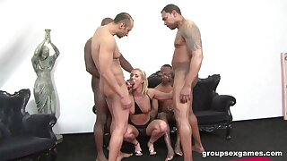 Blonde explicit shares make an issue of the hots with respect to insane gangbang action