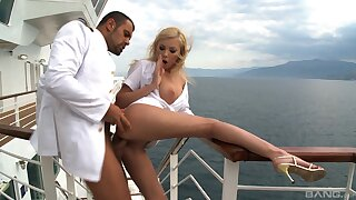 Energized MILF pumped in put emphasize irritant on a boat
