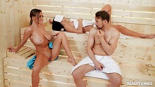 Crazy fucking with busty pornstar Josephine Jackson in the sauna