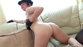 Redhead bird drops her clothes and pleasures her racy pussy