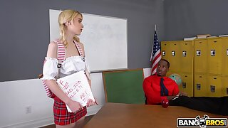Skinny blonde student Chloe Cherry drops on her knees be fitting of a BBC