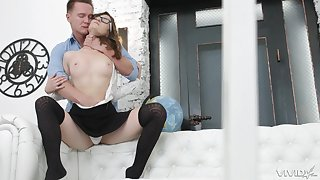 Hardcore anal missionary fuck with teen Sofy Topp in a miniskirt