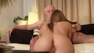Teen fair-haired babe seduces an old guy coupled with sucks his fat dick