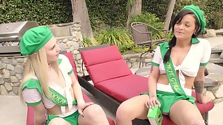 Costumed teen sluts Lily Rader with an increment of Kylie Fox swap cum in a threesome