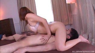 Exclusive home porn give Okazaki Emiri on a big dick