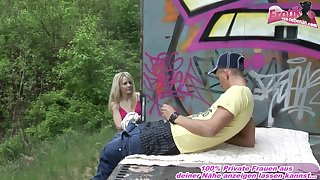 German teen public anal with homeless guy