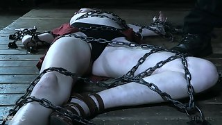 Teen blonde beauty Ashley Lane chained up coupled with pussy abused