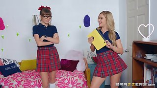 Cheerleader teen lesbian couple Alex Blake and Kali Roses